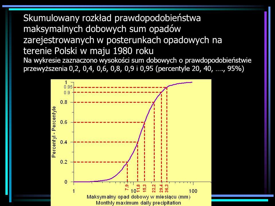Skumulowany rozkład prawdopodobieństwa maksymalnych dobowych sum opadów zarejestrowanych w posterunkach opadowych na terenie Polski w maju 1980 roku N