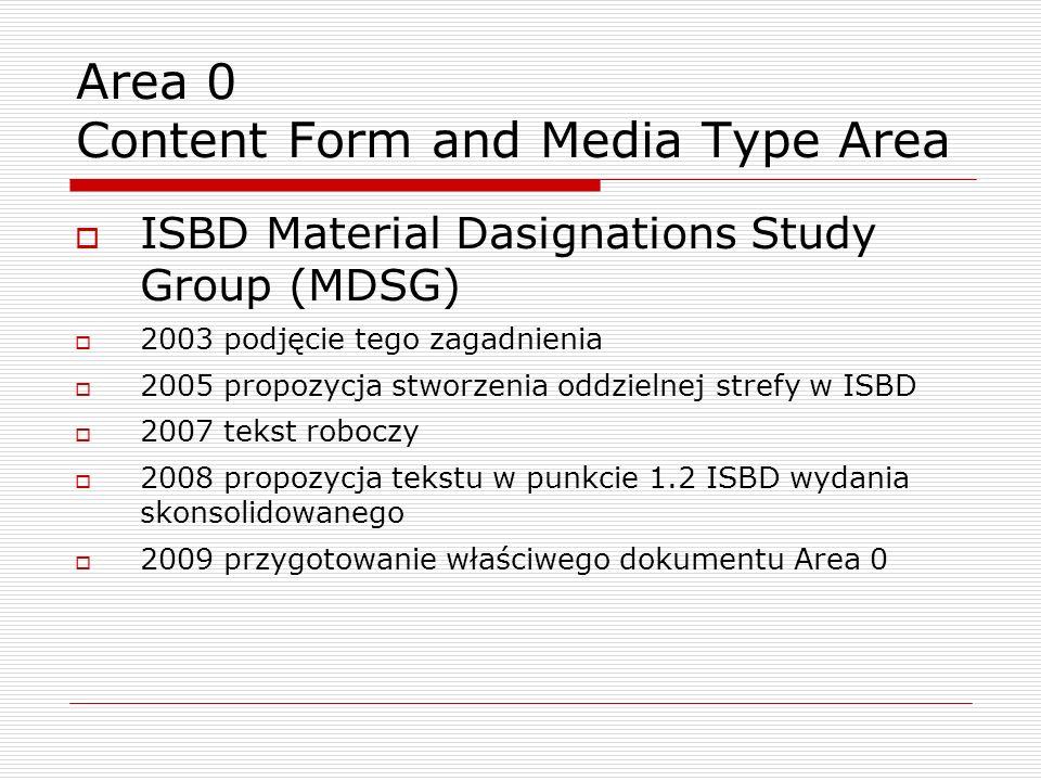Area 0 Content Form and Media Type Area ISBD Material Dasignations Study Group (MDSG) 2003 podjęcie tego zagadnienia 2005 propozycja stworzenia oddzielnej strefy w ISBD 2007 tekst roboczy 2008 propozycja tekstu w punkcie 1.2 ISBD wydania skonsolidowanego 2009 przygotowanie właściwego dokumentu Area 0