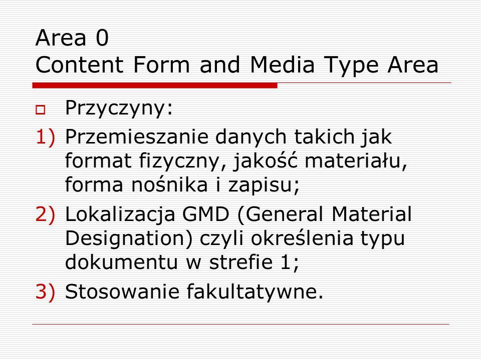 Area 0 Content Form and Media Type Area Przyczyny: 1)Przemieszanie danych takich jak format fizyczny, jakość materiału, forma nośnika i zapisu; 2)Lokalizacja GMD (General Material Designation) czyli określenia typu dokumentu w strefie 1; 3)Stosowanie fakultatywne.
