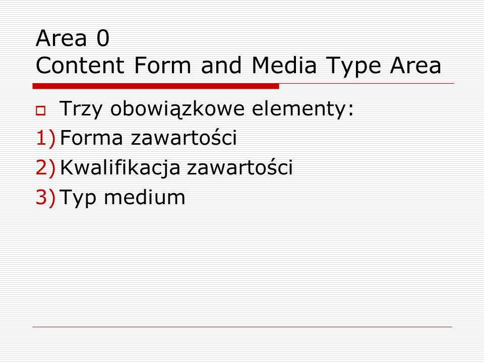 Trzy obowiązkowe elementy: 1)Forma zawartości 2)Kwalifikacja zawartości 3)Typ medium Area 0 Content Form and Media Type Area