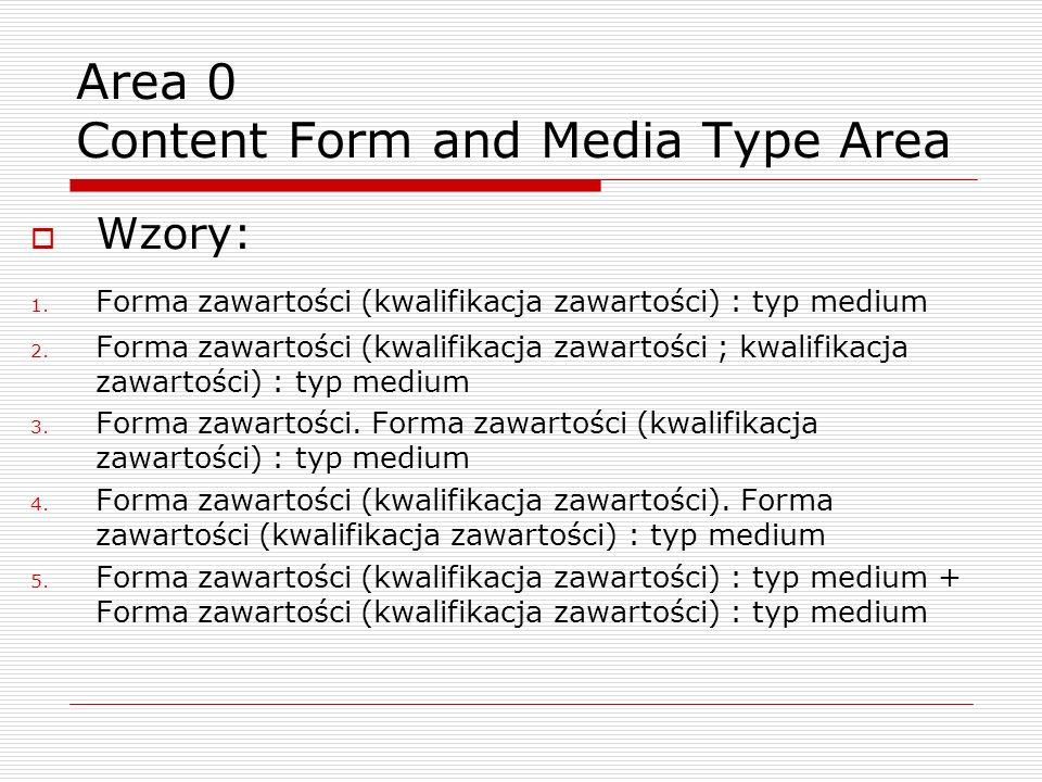 Wzory: 1. Forma zawartości (kwalifikacja zawartości) : typ medium 2.