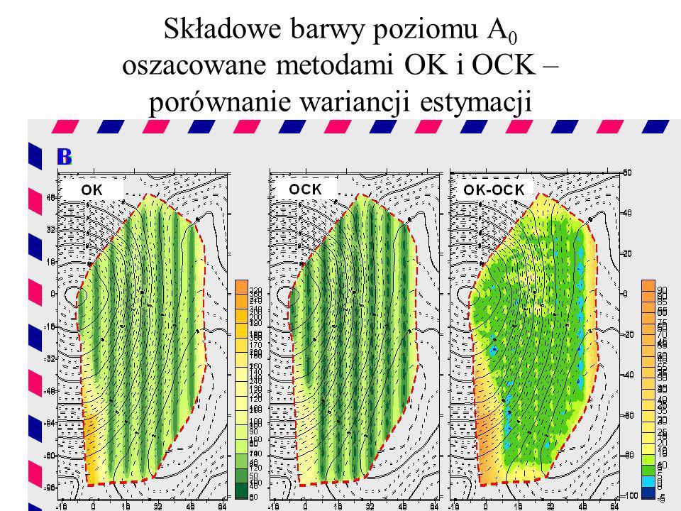 Składowe barwy poziomu A 0 oszacowane metodami OK i OCK – porównanie wariancji estymacji