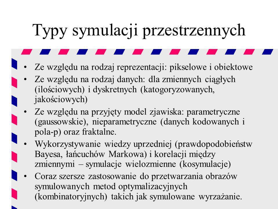 Typy symulacji przestrzennych Ze względu na rodzaj reprezentacji: pikselowe i obiektowe Ze względu na rodzaj danych: dla zmiennych ciągłych (ilościowy