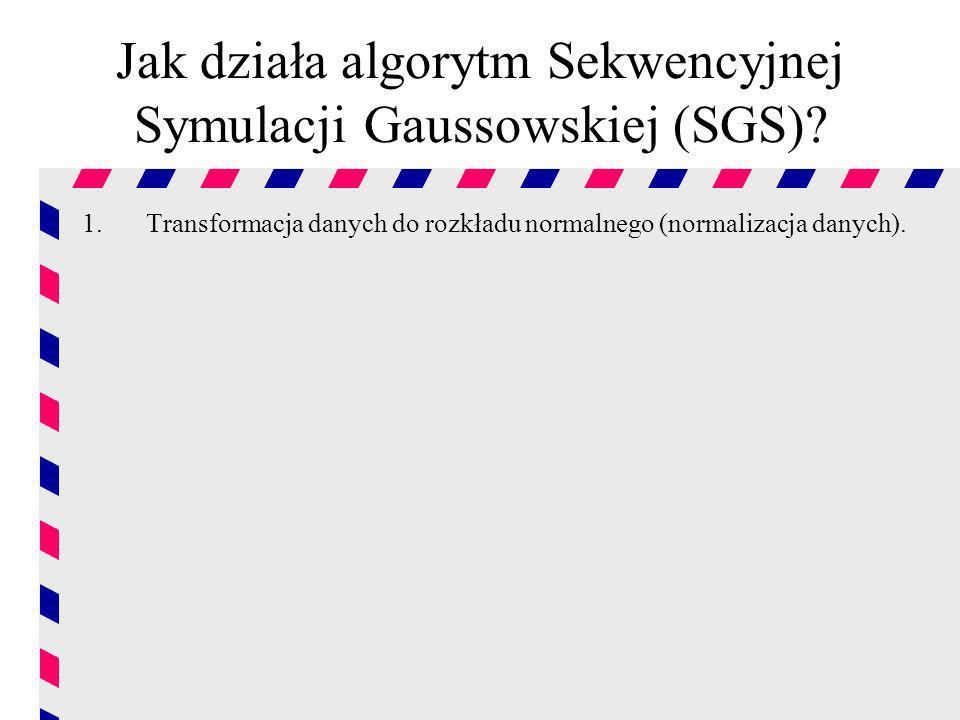 Jak działa algorytm Sekwencyjnej Symulacji Gaussowskiej (SGS)? 1.Transformacja danych do rozkładu normalnego (normalizacja danych).
