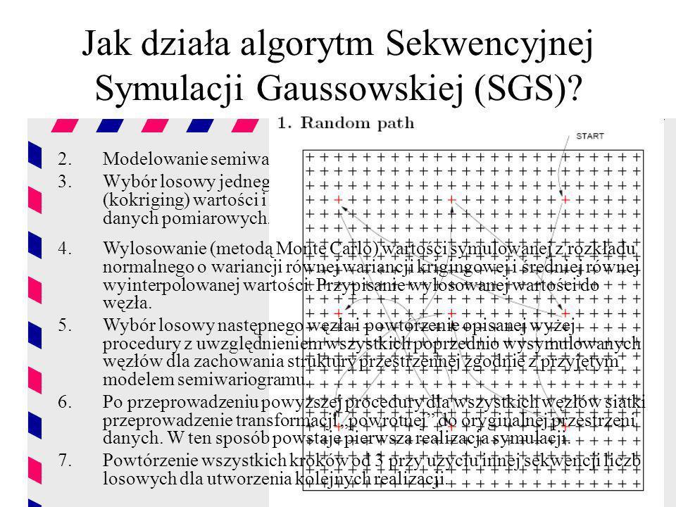Jak działa algorytm Sekwencyjnej Symulacji Gaussowskiej (SGS)? 2.Modelowanie semiwariogramu danych znormalizowanych. 3.Wybór losowy jednego węzła siat