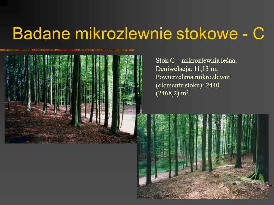 Badane mikrozlewnie stokowe - C Stok C – mikrozlewnia leśna. Deniwelacja: 11,13 m. Powierzchnia mikrozlewni (elementu stoku): 2440 (2468,2) m 2.