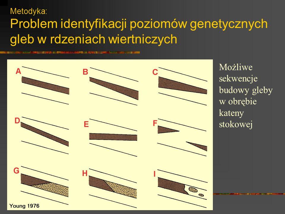 Metodyka: Problem identyfikacji poziomów genetycznych gleb w rdzeniach wiertniczych Możliwe sekwencje budowy gleby w obrębie kateny stokowej