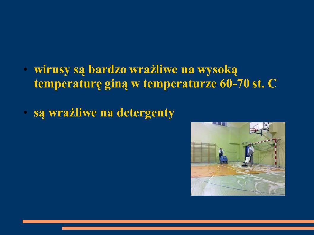 wirusy są bardzo wrażliwe na wysoką temperaturę giną w temperaturze 60-70 st. C są wrażliwe na detergenty