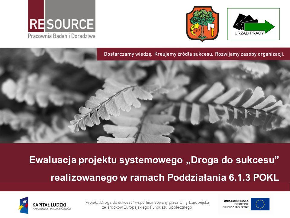 Ewaluacja projektu systemowego Droga do sukcesu realizowanego w ramach Poddziałania 6.1.3 POKL Projekt Droga do sukcesu współfinansowany przez Unię Eu
