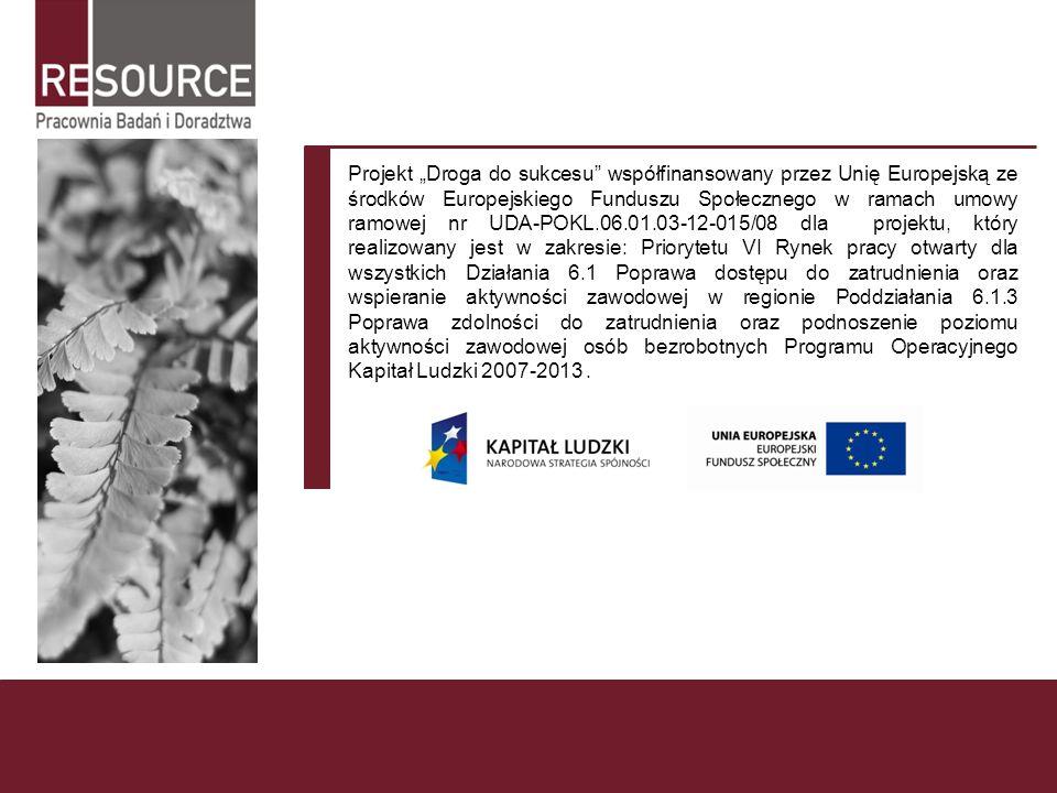 Projekt Droga do sukcesu współfinansowany przez Unię Europejską ze środków Europejskiego Funduszu Społecznego w ramach umowy ramowej nr UDA-POKL.06.01