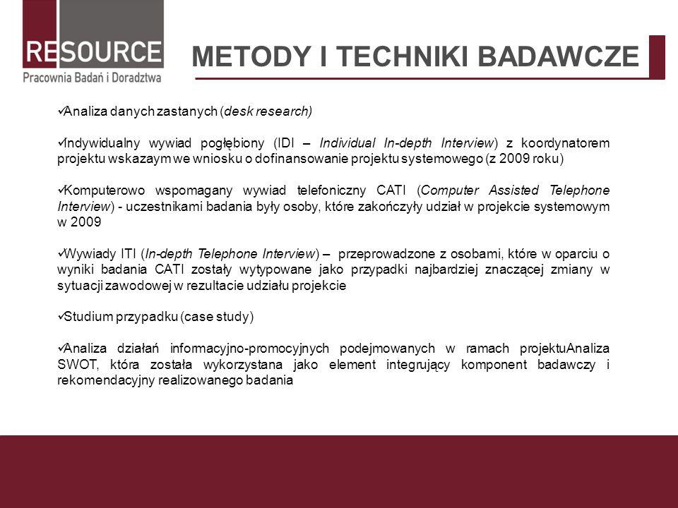 METODY I TECHNIKI BADAWCZE Analiza danych zastanych (desk research) Indywidualny wywiad pogłębiony (IDI – Individual In-depth Interview) z koordynator