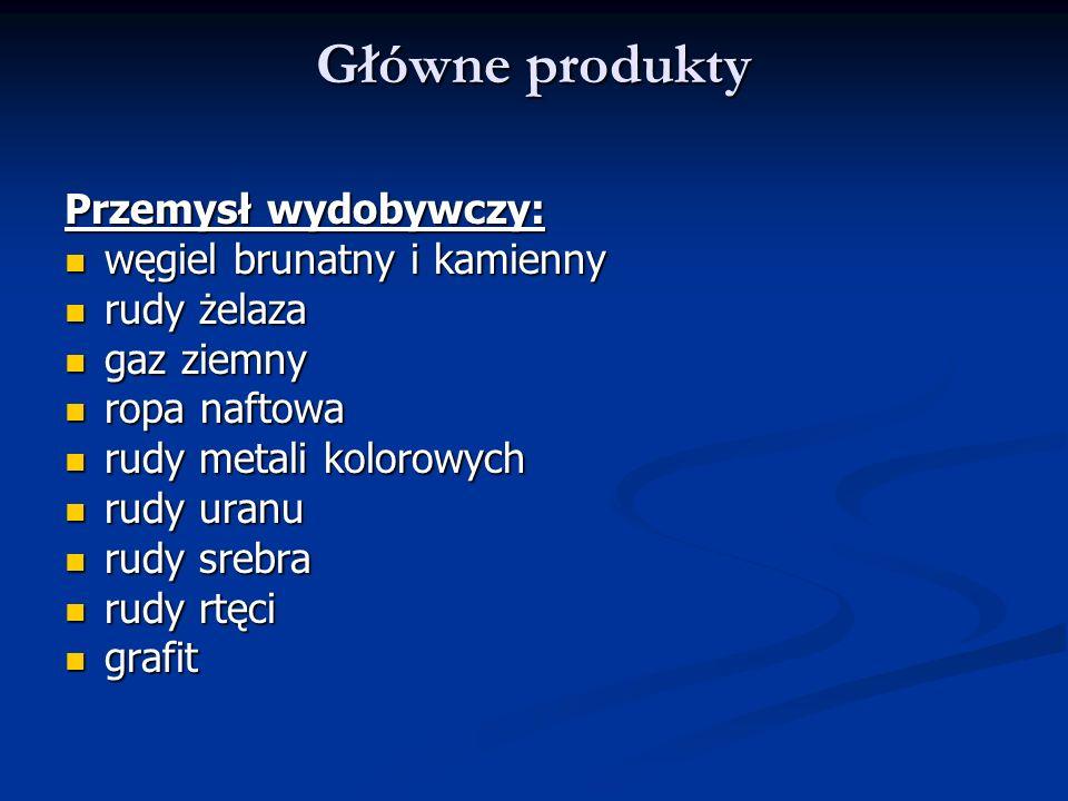 Główne produkty Przemysł wydobywczy: węgiel brunatny i kamienny węgiel brunatny i kamienny rudy żelaza rudy żelaza gaz ziemny gaz ziemny ropa naftowa