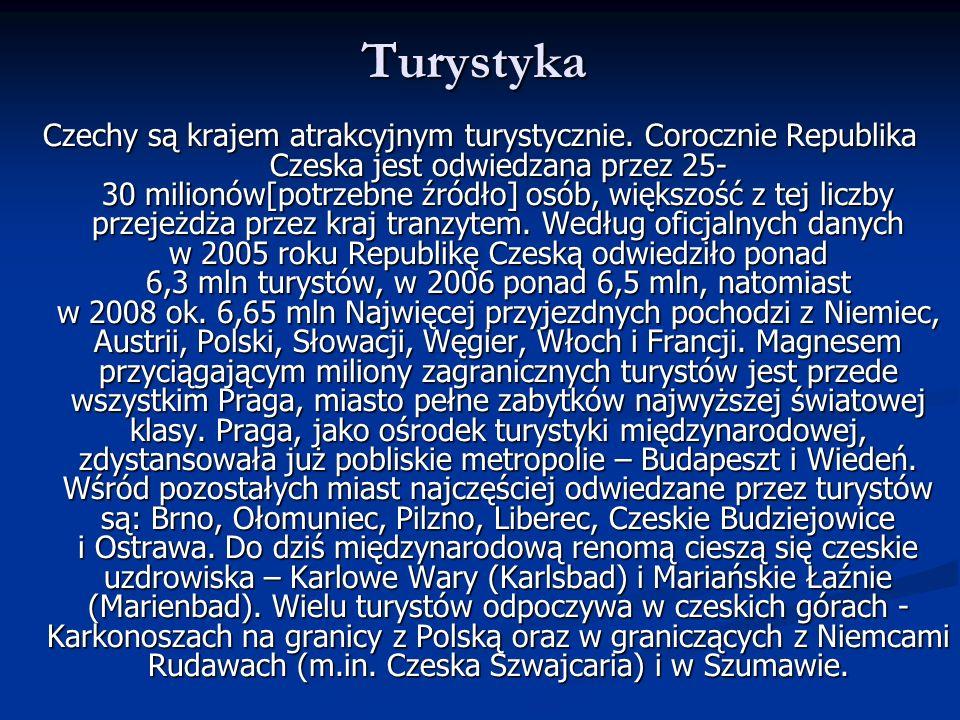 Turystyka Czechy są krajem atrakcyjnym turystycznie. Corocznie Republika Czeska jest odwiedzana przez 25- 30 milionów[potrzebne źródło] osób, większoś