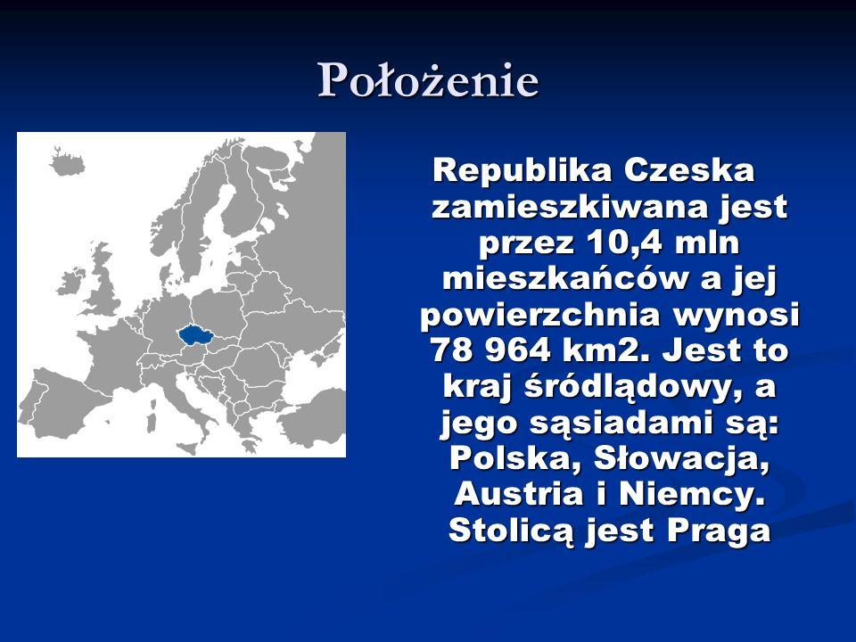 Położenie Republika Czeska zamieszkiwana jest przez 10,4 mln mieszkańców a jej powierzchnia wynosi 78 964 km2. Jest to kraj śródlądowy, a jego sąsiada