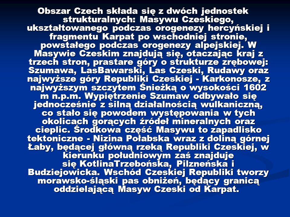 Obszar Czech składa się z dwóch jednostek strukturalnych: Masywu Czeskiego, ukształtowanego podczas orogenezy hercyńskiej i fragmentu Karpat po wschod