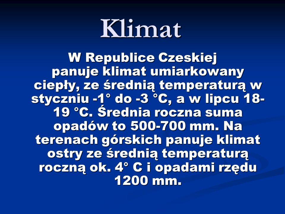 Klimat W Republice Czeskiej panuje klimat umiarkowany ciepły, ze średnią temperaturą w styczniu -1° do -3 °C, a w lipcu 18- 19 °C. Średnia roczna suma