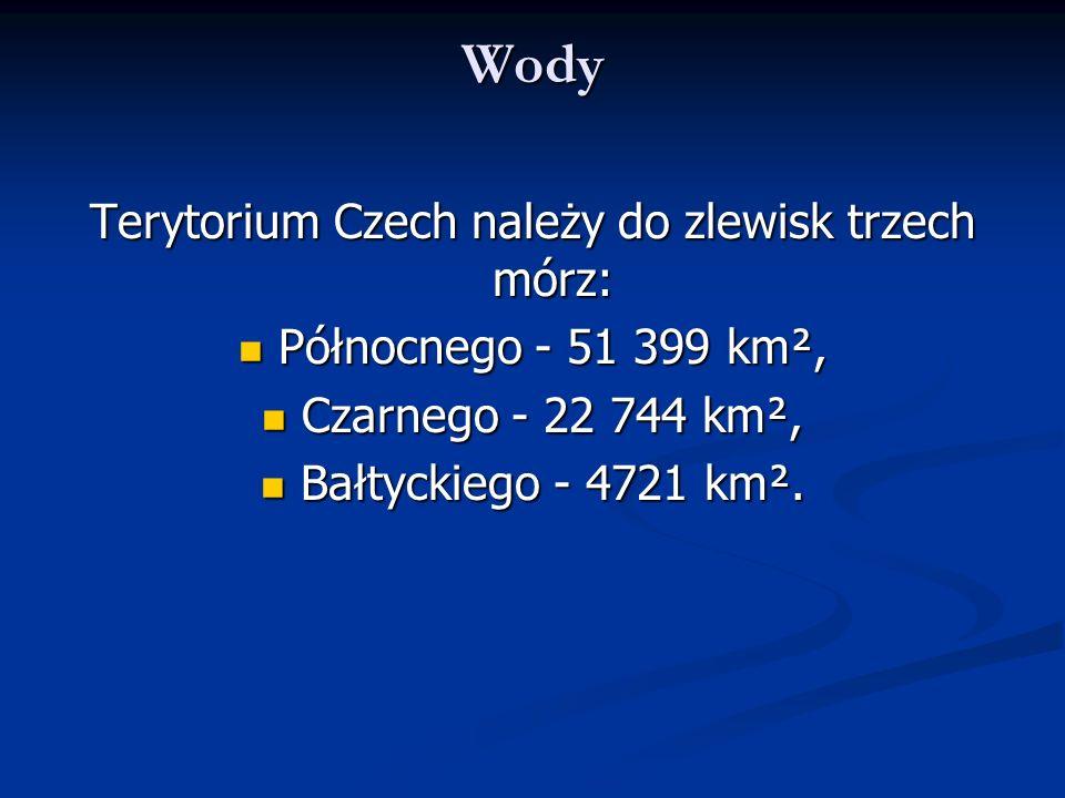 Wody Terytorium Czech należy do zlewisk trzech mórz: Północnego - 51 399 km², Północnego - 51 399 km², Czarnego - 22 744 km², Czarnego - 22 744 km², B