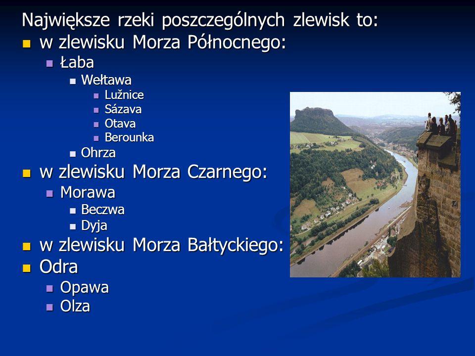 Największe rzeki poszczególnych zlewisk to: w zlewisku Morza Północnego: w zlewisku Morza Północnego: Łaba Łaba Wełtawa Wełtawa Lužnice Lužnice Sázava