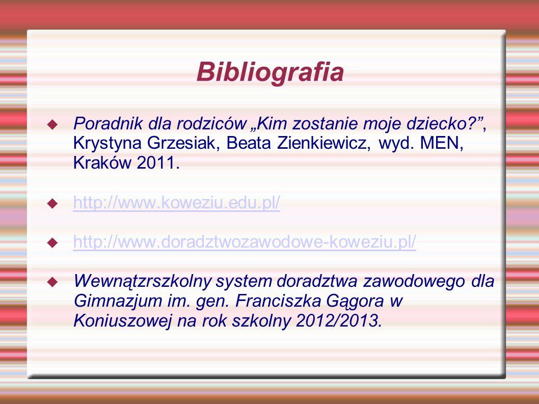 Bibliografia Poradnik dla rodziców Kim zostanie moje dziecko?, Krystyna Grzesiak, Beata Zienkiewicz, wyd. MEN, Kraków 2011. http://www.koweziu.edu.pl/