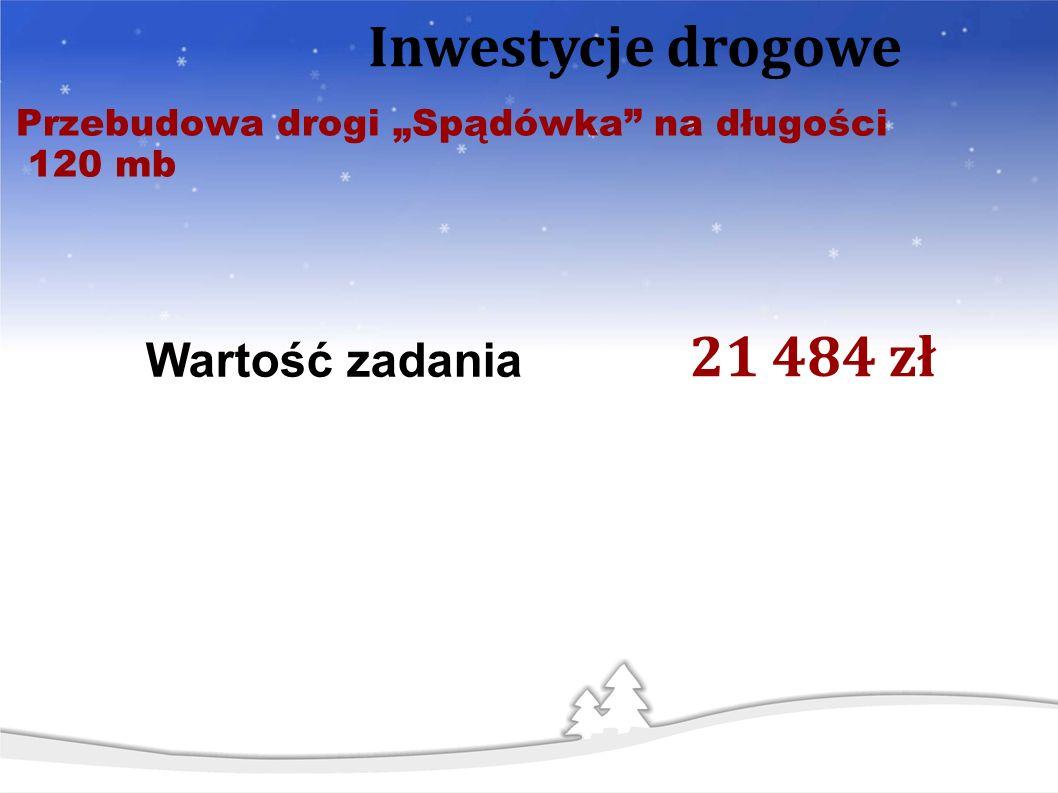 Przebudowa drogi Spądówka na długości 120 mb Inwestycje drogowe Wartość zadania 21 484 zł
