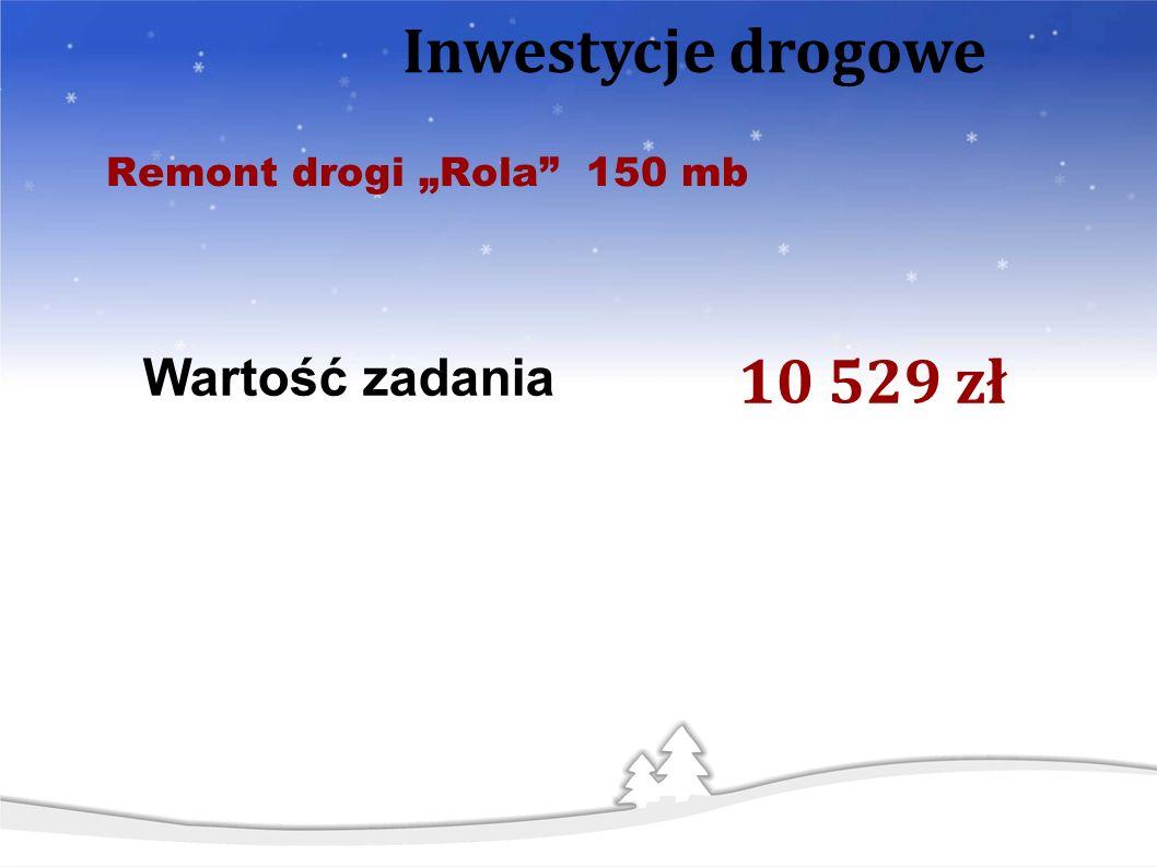 Remont drogi Rola 150 mb Wartość zadania 10 529 zł Inwestycje drogowe