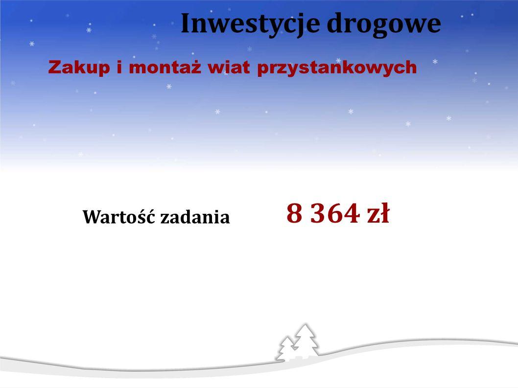 Wartość zadania Zakup i montaż wiat przystankowych Inwestycje drogowe 8 364 zł
