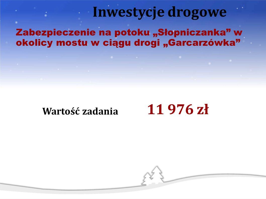 Zabezpieczenie na potoku Słopniczanka w okolicy mostu w ciągu drogi Garcarzówka Inwestycje drogowe Wartość zadania 11 976 zł