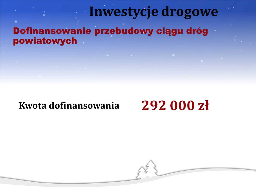Dofinansowanie przebudowy ciągu dróg powiatowych Inwestycje drogowe Kwota dofinansowania 292 000 zł
