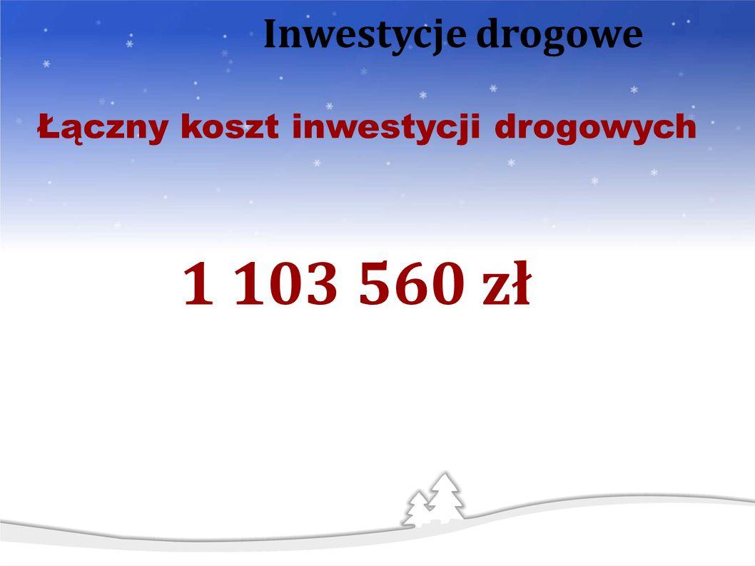 1 103 560 zł Łączny koszt inwestycji drogowych Inwestycje drogowe