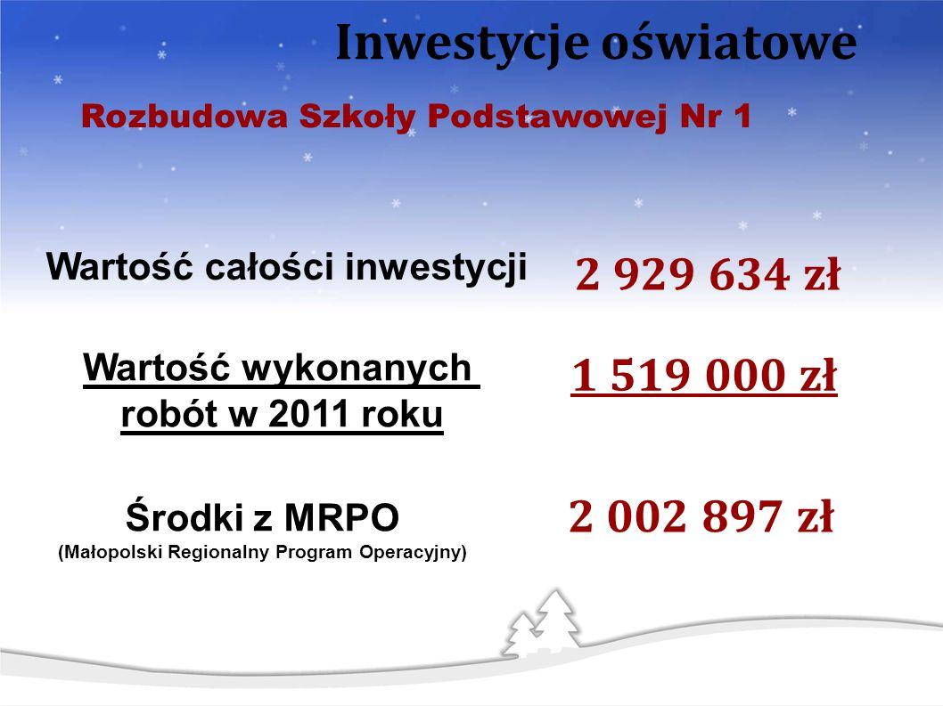 2 929 634 zł Wartość całości inwestycji Inwestycje oświatowe Rozbudowa Szkoły Podstawowej Nr 1 Środki z MRPO (Małopolski Regionalny Program Operacyjny) 2 002 897 zł 1 519 000 zł Wartość wykonanych robót w 2011 roku