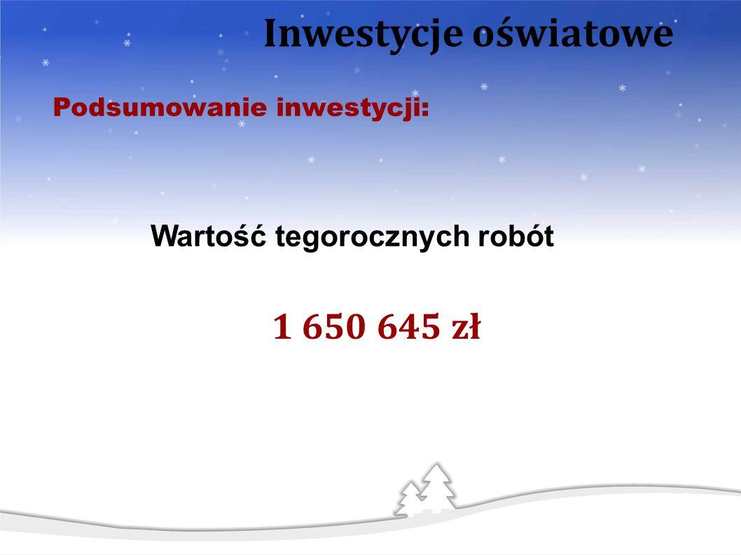 Wartość tegorocznych robót 1 650 645 zł Podsumowanie inwestycji: Inwestycje oświatowe