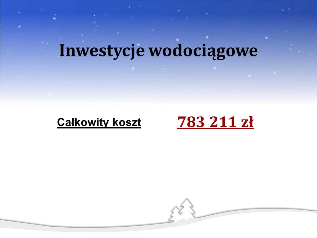 783 211 zł Całkowity koszt Inwestycje wodociągowe