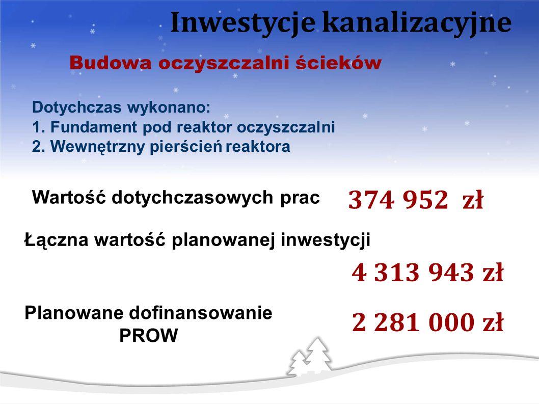 Budowa oczyszczalni ścieków 2 281 000 zł Planowane dofinansowanie PROW Inwestycje kanalizacyjne 4 313 943 zł Łączna wartość planowanej inwestycji 374