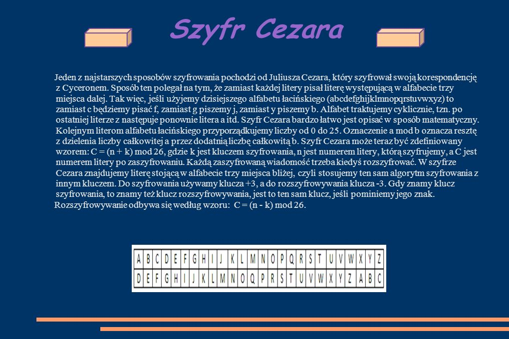 Szyfr Cezara Jeden z najstarszych sposobów szyfrowania pochodzi od Juliusza Cezara, który szyfrował swoją korespondencję z Cyceronem.
