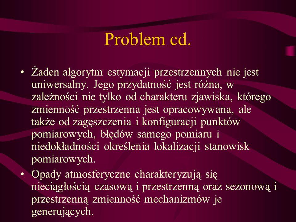 Problem cd. Żaden algorytm estymacji przestrzennych nie jest uniwersalny. Jego przydatność jest różna, w zależności nie tylko od charakteru zjawiska,