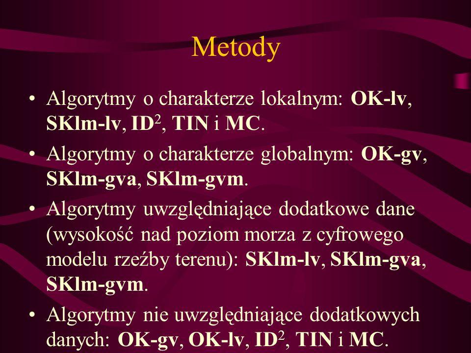 Metody Algorytmy o charakterze lokalnym: OK-lv, SKlm-lv, ID 2, TIN i MC. Algorytmy o charakterze globalnym: OK-gv, SKlm-gva, SKlm-gvm. Algorytmy uwzgl