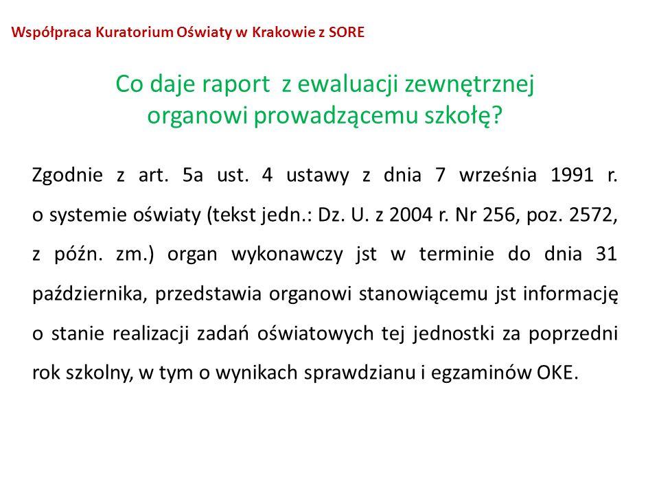 Współpraca Kuratorium Oświaty w Krakowie z SORE Zgodnie z art. 5a ust. 4 ustawy z dnia 7 września 1991 r. o systemie oświaty (tekst jedn.: Dz. U. z 20