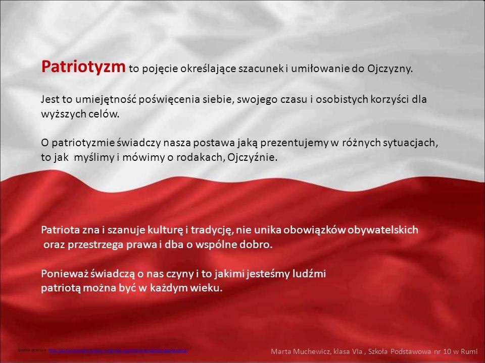 Patriotyzm to pojęcie określające szacunek i umiłowanie do Ojczyzny. Jest to umiejętność poświęcenia siebie, swojego czasu i osobistych korzyści dla w