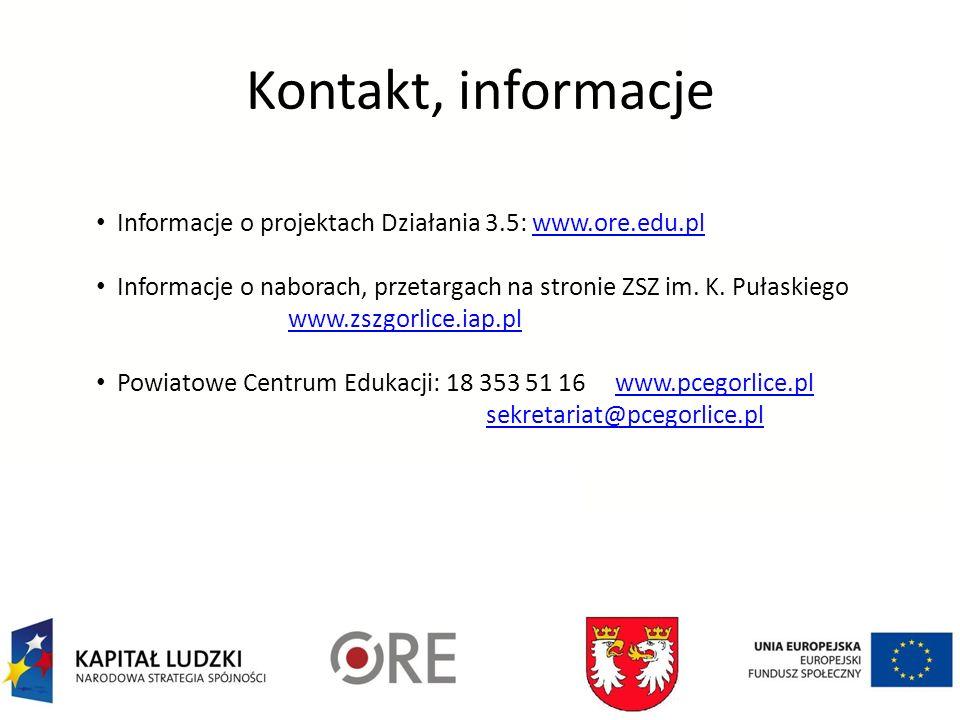 Kontakt, informacje Informacje o projektach Działania 3.5: www.ore.edu.plwww.ore.edu.pl Informacje o naborach, przetargach na stronie ZSZ im. K. Pułas