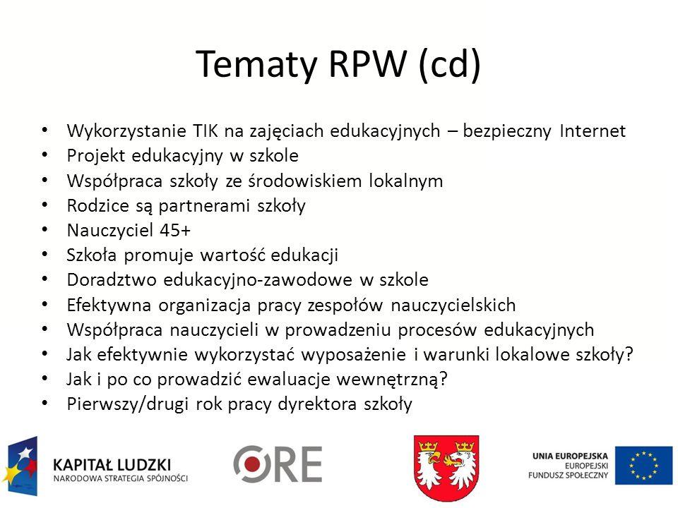 Tematy RPW (cd) Wykorzystanie TIK na zajęciach edukacyjnych – bezpieczny Internet Projekt edukacyjny w szkole Współpraca szkoły ze środowiskiem lokaln