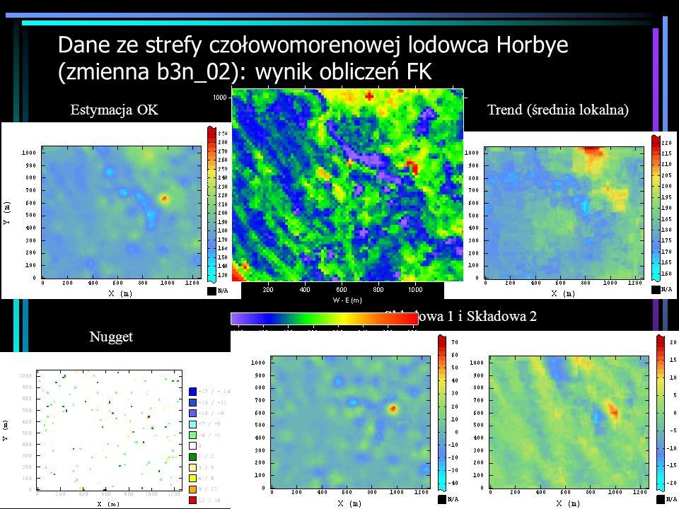 Dane ze strefy czołowomorenowej lodowca Horbye (zmienna b3n_02): wynik obliczeń FK Estymacja OK Trend (średnia lokalna) Nugget Składowa 1 i Składowa 2