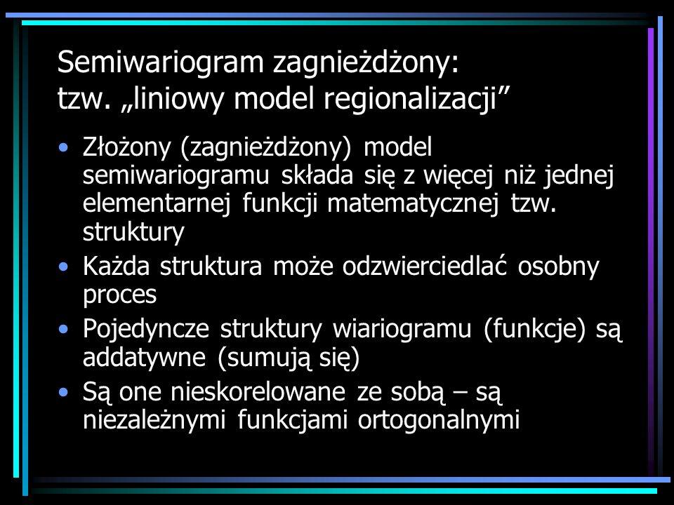 Złożony (zagnieżdżony) model semiwariogramu składa się z więcej niż jednej elementarnej funkcji matematycznej tzw. struktury Każda struktura może odzw