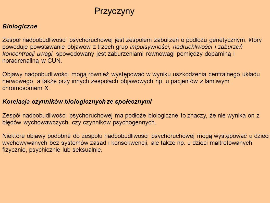 Przyczyny Biologiczne Zespół nadpobudliwości psychoruchowej jest zespołem zaburzeń o podłożu genetycznym, który powoduje powstawanie objawów z trzech