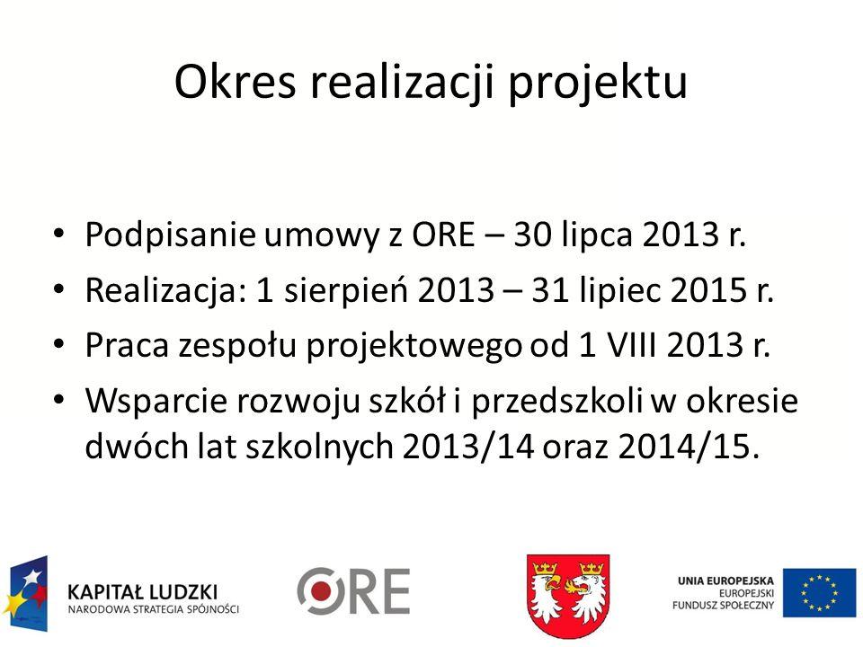 Okres realizacji projektu Podpisanie umowy z ORE – 30 lipca 2013 r.