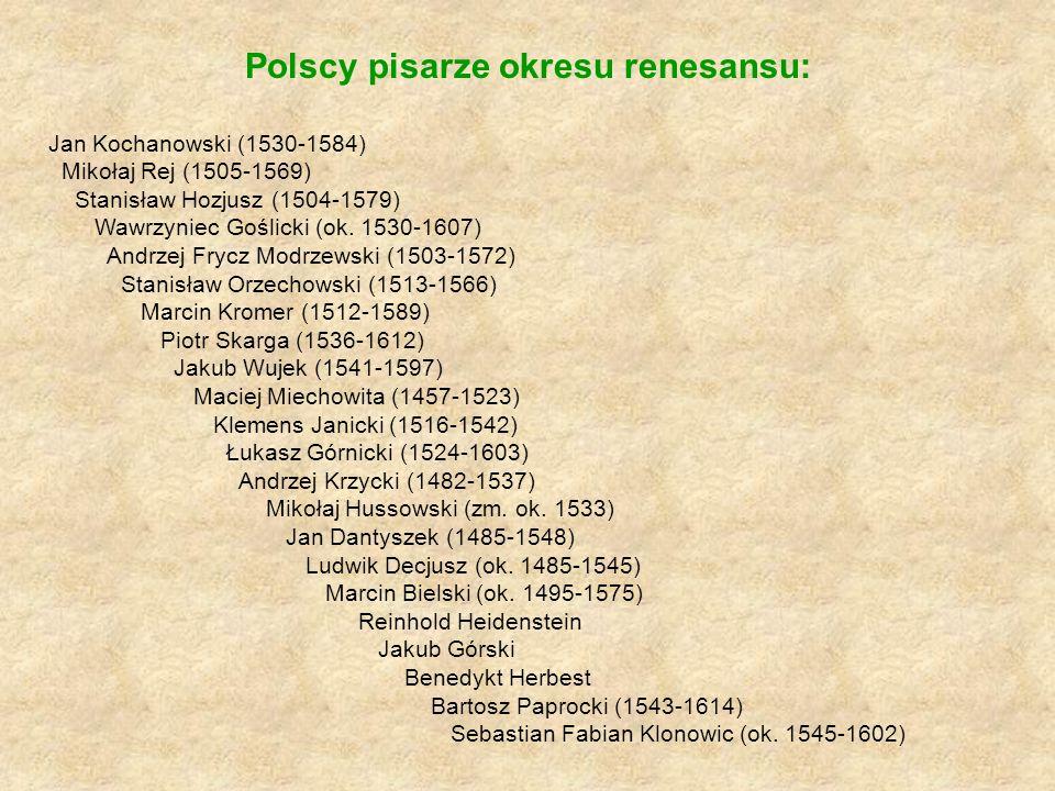 Polscy pisarze okresu renesansu: Jan Kochanowski (1530-1584) Mikołaj Rej (1505-1569) Stanisław Hozjusz (1504-1579) Wawrzyniec Goślicki (ok. 1530-1607)