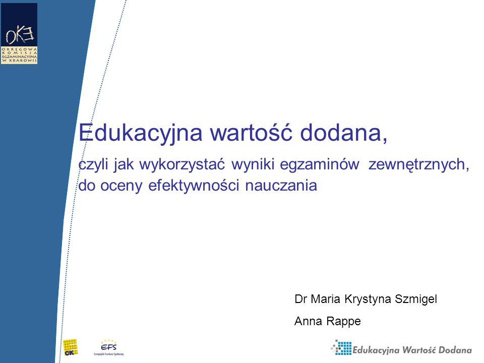 Edukacyjna wartość dodana, czyli jak wykorzystać wyniki egzaminów zewnętrznych, do oceny efektywności nauczania Dr Maria Krystyna Szmigel Anna Rappe