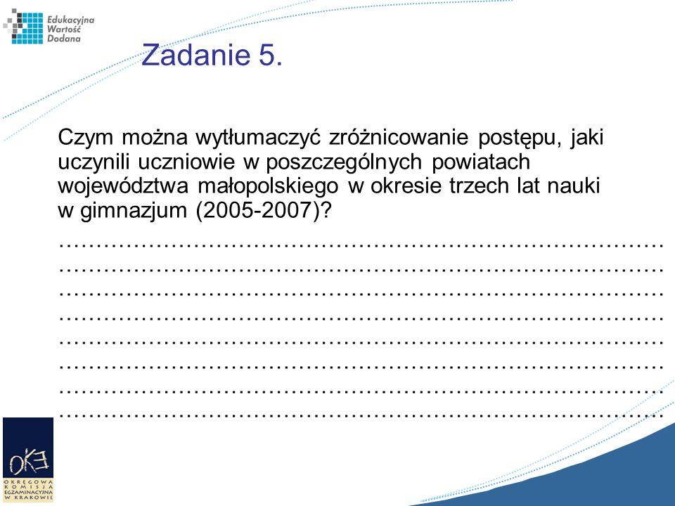 Zadanie 5. Czym można wytłumaczyć zróżnicowanie postępu, jaki uczynili uczniowie w poszczególnych powiatach województwa małopolskiego w okresie trzech