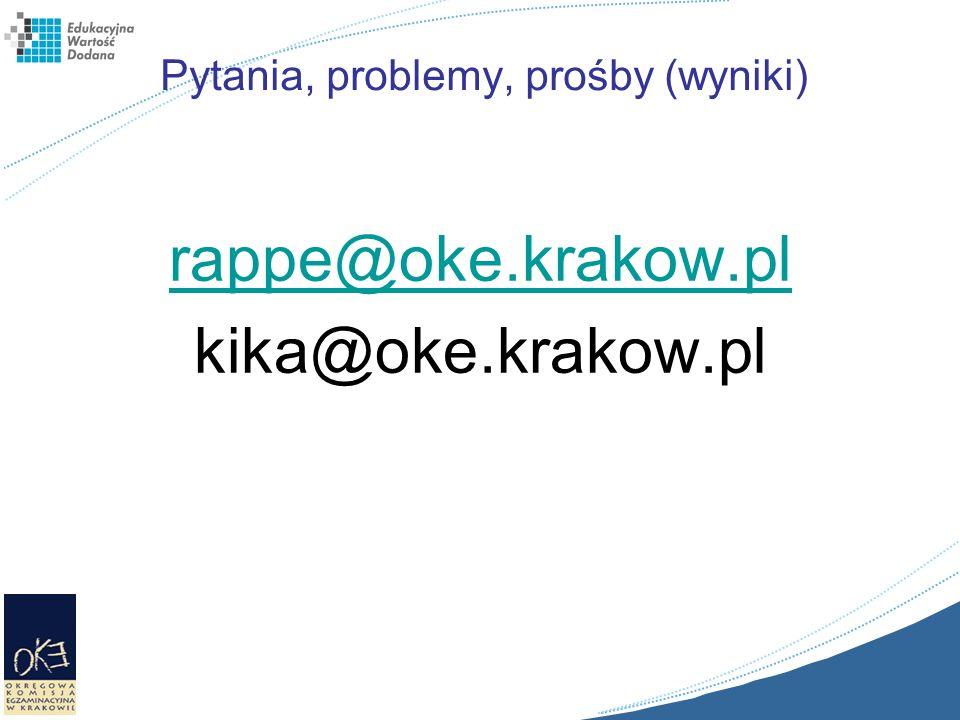 Pytania, problemy, prośby (wyniki) rappe@oke.krakow.pl kika@oke.krakow.pl