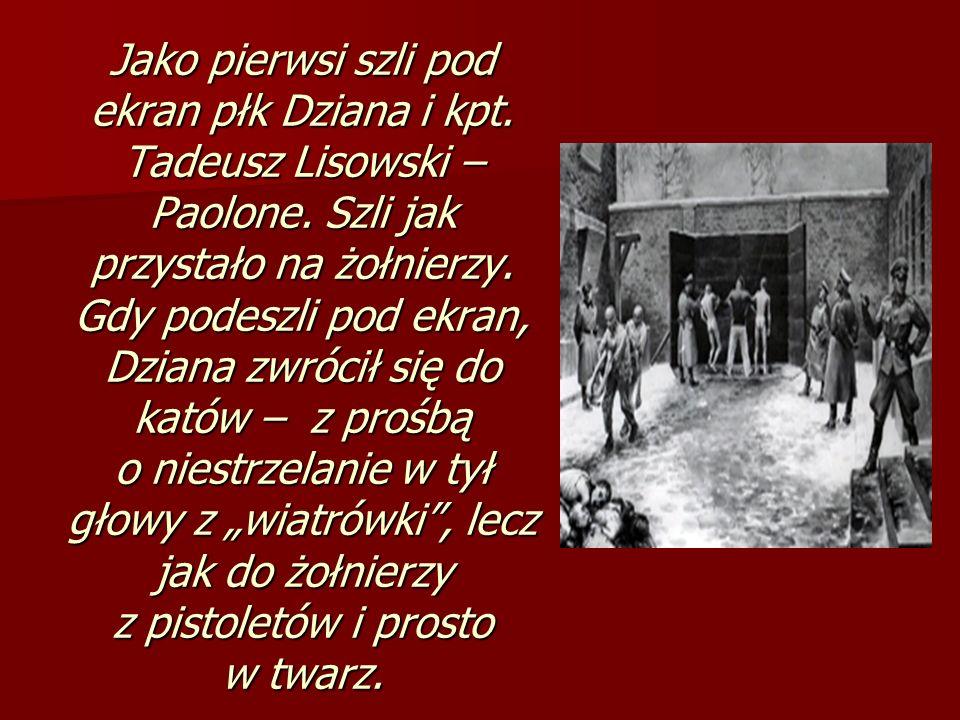 Jako pierwsi szli pod ekran płk Dziana i kpt. Tadeusz Lisowski – Paolone. Szli jak przystało na żołnierzy. Gdy podeszli pod ekran, Dziana zwrócił się
