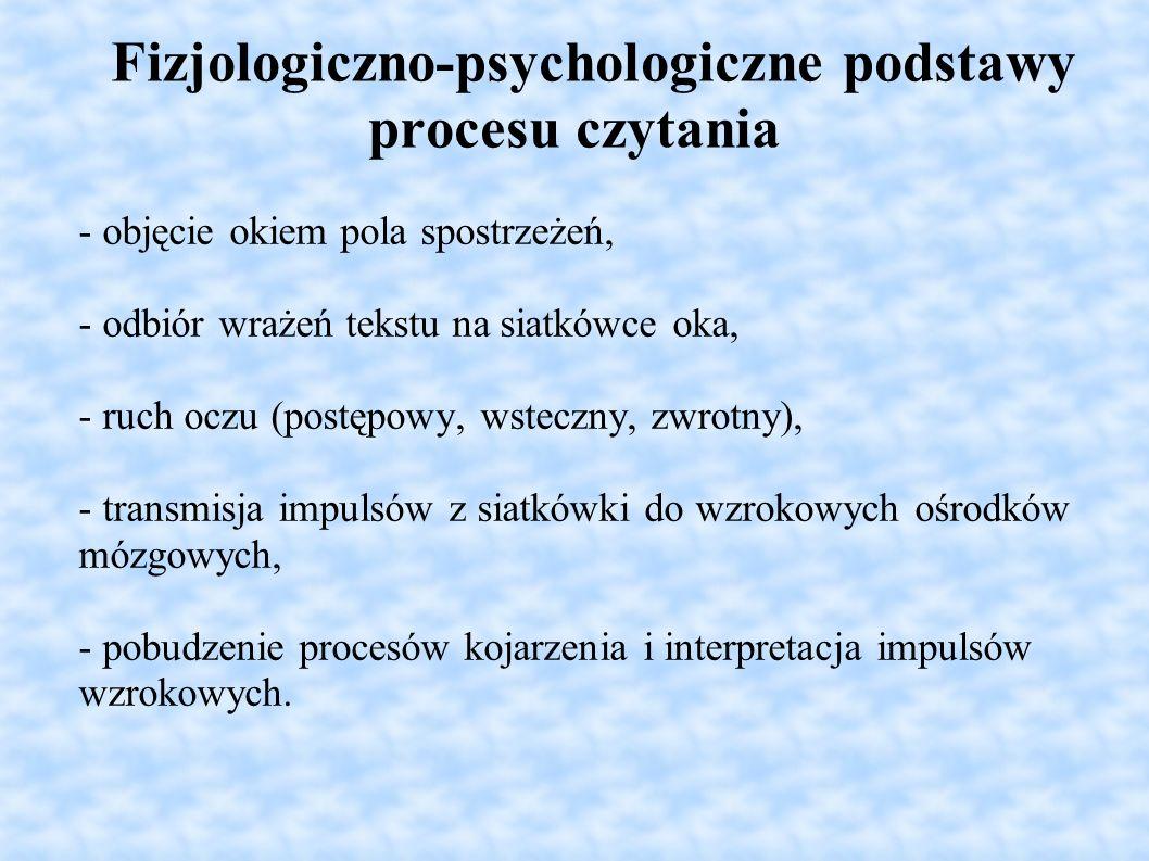 Fizjologiczno-psychologiczne podstawy procesu czytania - objęcie okiem pola spostrzeżeń, - odbiór wrażeń tekstu na siatkówce oka, - ruch oczu (postępo